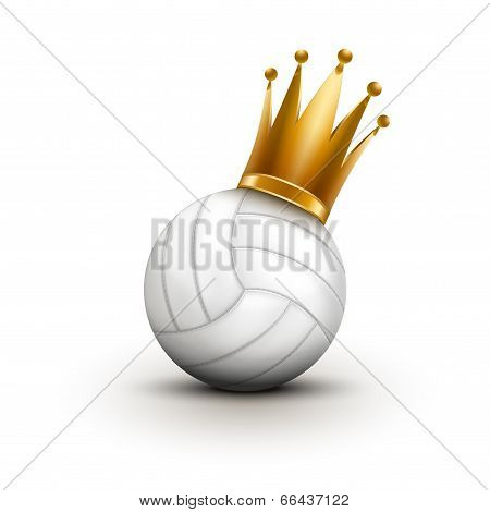 Volleyball ball with royal crown. Princess of sport. Traditional form and color. Tennis ball with royal crown. King of sport. Traditional form and color. Isolated on white background. poster