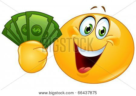Happy yellow ball holding dollar bills