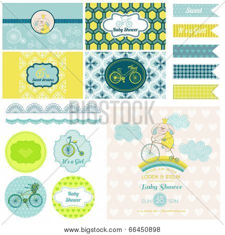 Baby Shower Air balloon Theme  - for Party, Birthday, Scrapbook or Design Elements - in vector poster