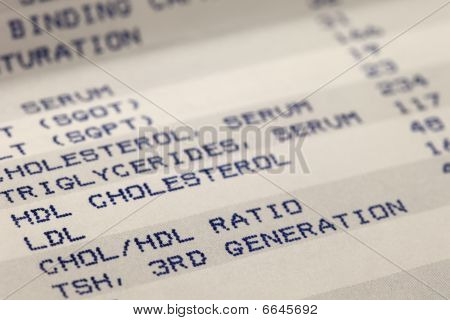 detail of blood screening results printout with focus on cholesterol poster
