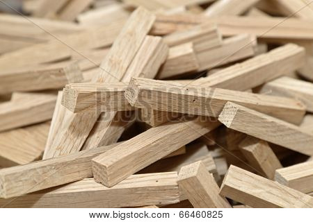wooden blocks with selected focus filling frame