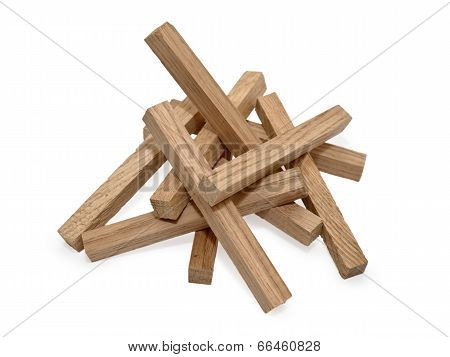Wooden Blocks Isolated On White Background With Shadow