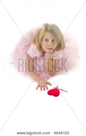 Girl and valentine`s heart.