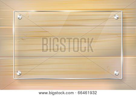 Transparent Glass Frame On Wooden Background