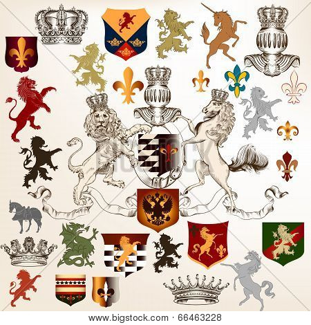 Collection Of Heraldic Decorative Elements Fleur De Lis, Shields And Animals