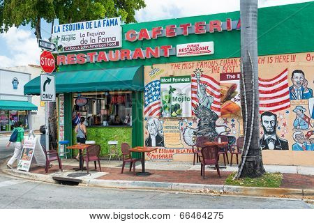 MIAMI,USA - MAY 19,2014 : Typical cuban restaurant serving mojitos in Little Havana, Miami