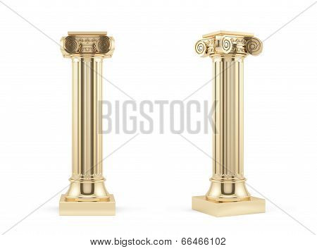 Golden Columns Isolated