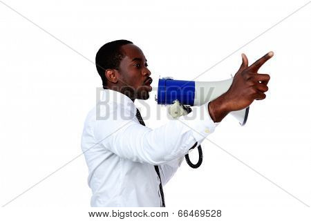 African man shouting through a megaphone isolated on a white background