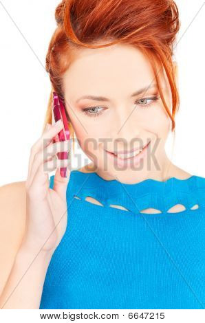 Happy Woman With Pink Phone
