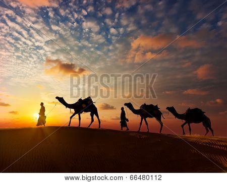 Rajasthan travel background - two indian cameleers (camel drivers) with camels silhouettes in dunes of Thar desert on sunset. Jaisalmer, Rajasthan, India