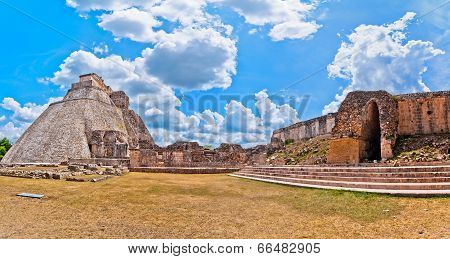 Ancient mayan pyramid in Uxmal, Yucatan, Mexico