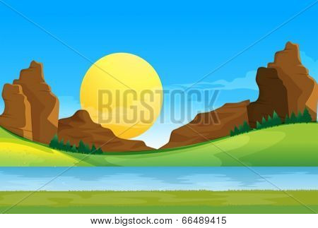 Illustration of a view of the river under the blue sky with a sun