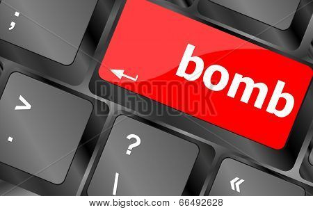 Dangerous Bomb Button On White Computer Keyboard