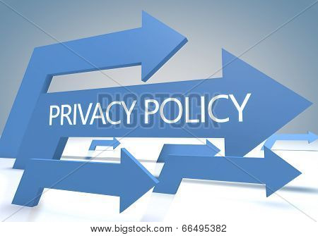 Privacy policy 3d render concept with blue arrows on a bluegrey background. poster