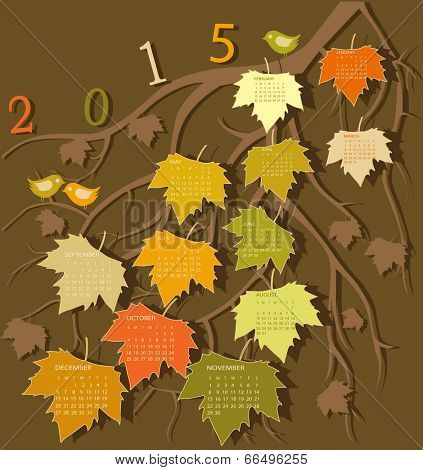 Tree calendar for 2015 year on leaves