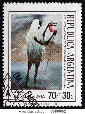 Postage Stamp Argentina 1974 Lama, By Juan Batlle Planas