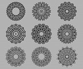 Circular ornate and intricate Celtic ornaments in black and white isolated over grey background poster