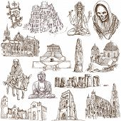 From series: Religion and Spiritual Life around the World (set no.2). Collection of an hand drawn illustrations. Description: Full sized hand drawn illustrations drawing on white. poster