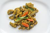 Stir spicy fried bengal monitor on dish poster