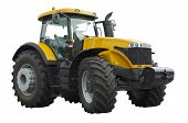 Powerful agricultural tractor on a white background poster
