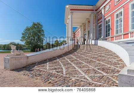 MOSCOW RUSSIA - MAY 9 2014:View of the incoming group in Kuskovo palace on May 9 2014 in Moscow. Kuskovo was the summer country house and estate of the Sheremetev family. poster
