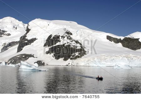 Landscape In Antarctica And Rubber Boat