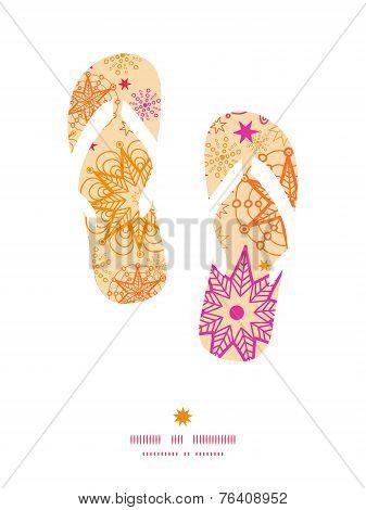 Vector warm stars flip flops silhouettes pattern frame graphic design poster