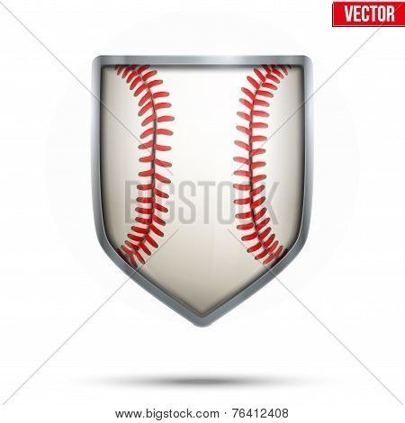 Bright shield in the baseball ball inside. Vector.