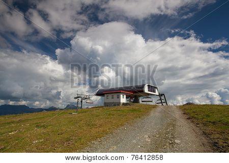 Empty Mountain Ski Resort In Kitzbuhel In Autumn.