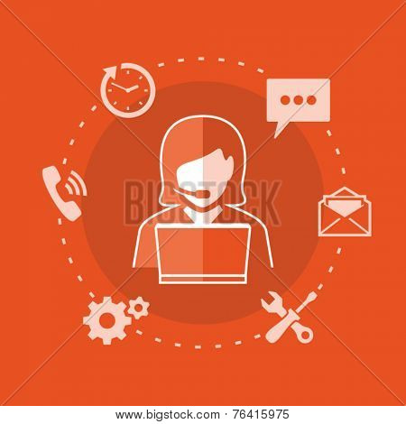 Customer and technical support. Woman using laptop. Support phone operator with headset.