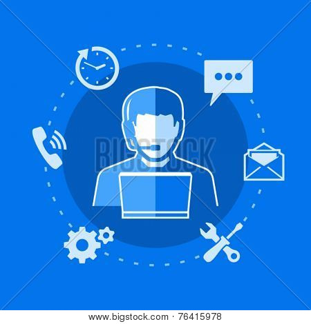 Customer and technical support. Man using laptop. Support phone operator with headset.