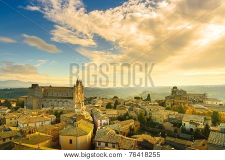 Orvieto medieval town and Duomo cathedral church landmark panoramic aerial view. Umbria Italy Europe. poster