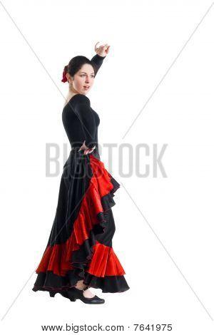 Woman Dancer In A Black Dress