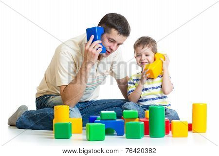 father and child son role playing together