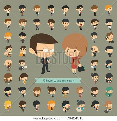 Set Of 50 Business Men And Women
