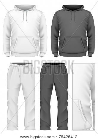 Men's hooded tracksuits. Black and white variants. Vector illustration.