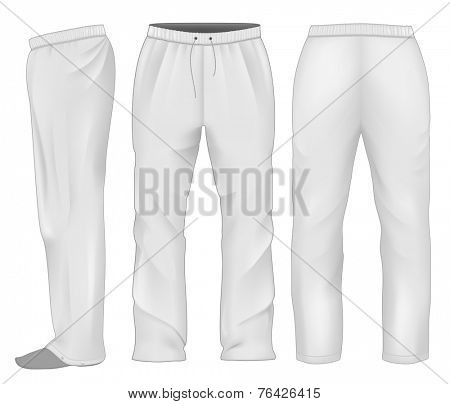 Men's sweatpants white. Vector illustration.