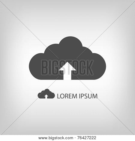 Grey cloud with uploading sign as logo