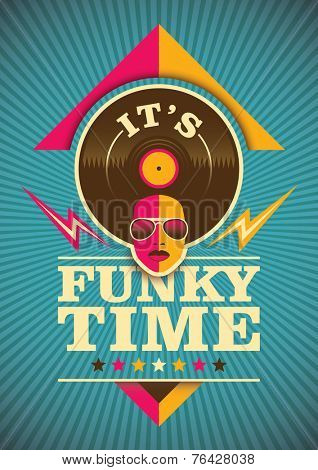 Funky poster design in color. Vector illustration.