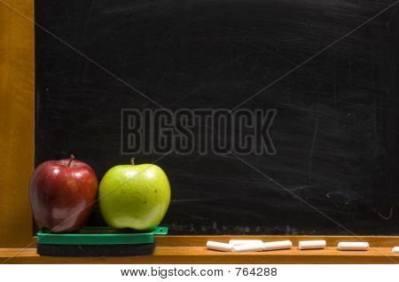 Apples and Challkboard at school