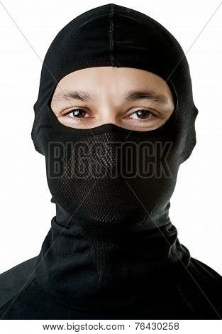 Young Sexy Man In Black Ski Mask