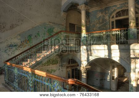 Staircase In An Abandoned Hospital In Beelitz