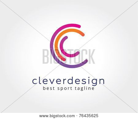 Abstract C character vector logo icon concept. Logotype template for branding