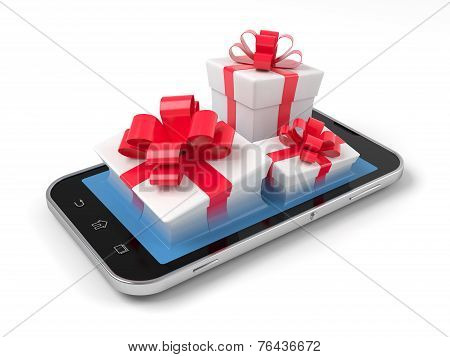 Gift Boxes On Smartphone.