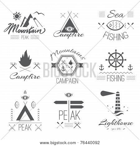 Set of icons on a hike in the mystical retro style design for t-shirt prints black and white silhouette poster