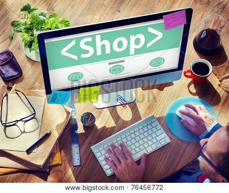 Digital Online Shop Commerce Market Office Concept