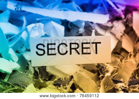 shredded paper tagged with secret symbol photo for data destruction, bank secret and economic espionage poster