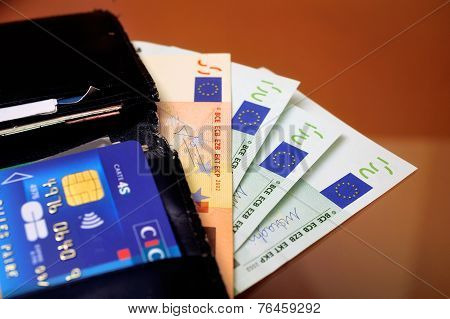 Open Wallet With Credit Cards And Euro