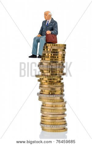 pensioners sitting on money stack, symbol photo for retirement and pension poster