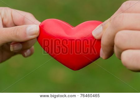 the hands of a love couple holding a heart